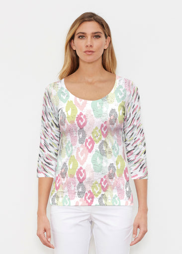Abstract Pastel Ikat (7813) ~ Signature 3/4 Sleeve Scoop Shirt