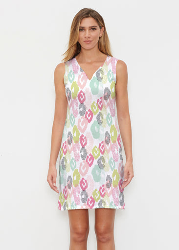 Abstract Pastel Ikat (7813) ~ Vivid Sleeveless Dress
