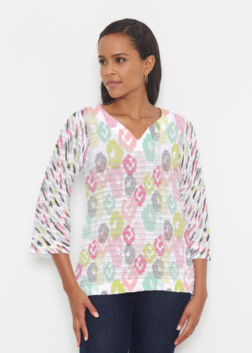 Abstract Pastel Ikat (7813) ~ Banded 3/4 Bell-Sleeve V-Neck Tunic