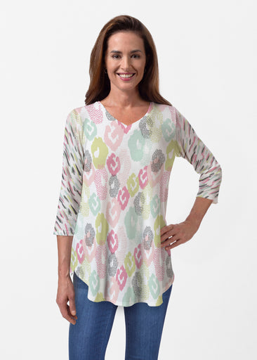 Abstract Pastel Ikat (7813) ~ Butterknit V-neck Flowy Tunic