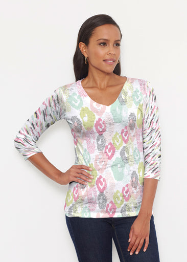 Abstract Pastel Ikat (7813) ~ Signature 3/4 V-Neck Shirt