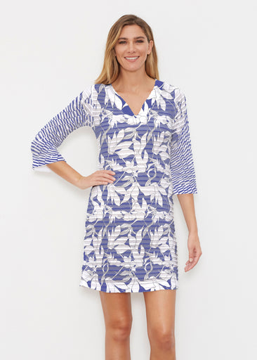 Sketch Floral Dominos (7814) ~ Banded 3/4 Sleeve Cover-up Dress