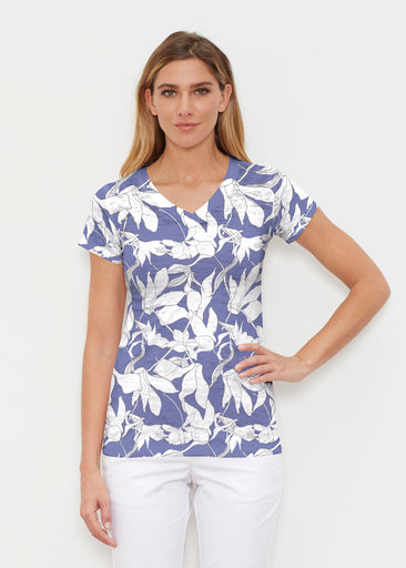 Sketch Floral Dominos (7814) ~ Signature Cap Sleeve V-Neck Shirt