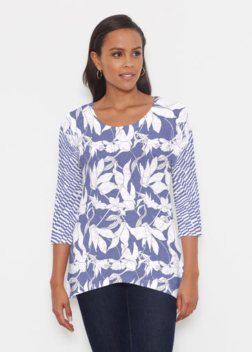 Sketch Floral Dominos (7814) ~ Katherine Hi-Lo Thermal Tunic