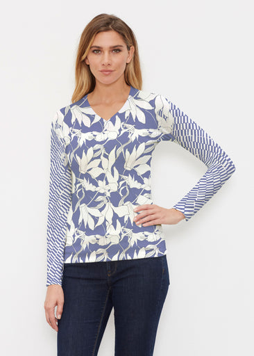 Sketch Floral Dominos (7814) ~ Butterknit Long Sleeve V-Neck Top