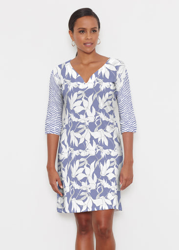 Sketch Floral Dominos (7814) ~ Classic 3/4 Sleeve Sweet Heart V-Neck Dress