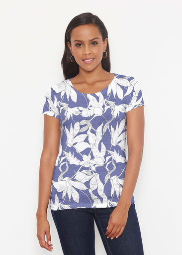 Sketch Floral Dominos (7814) ~ Signature Short Sleeve Scoop Shirt