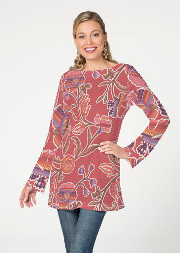Patterns at Play Apricot  (7826) ~ Banded Boatneck Tunic