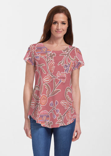 Patterns At Play Apricot (7826) ~ Signature Short Sleeve Scoop Neck Flowy Tunic