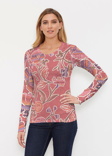 Patterns At Play Apricot (7826) ~ Thermal Long Sleeve Crew Shirt