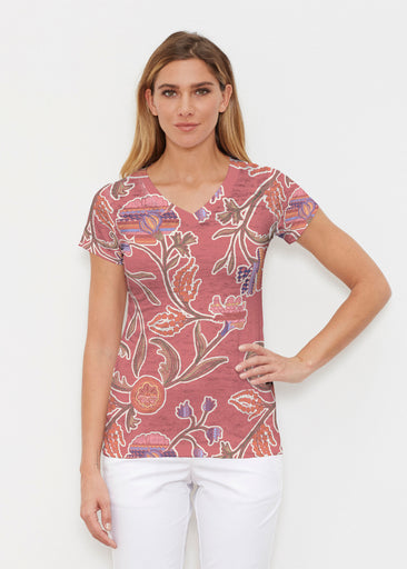 Patterns At Play Apricot (7826) ~ Signature Cap Sleeve V-Neck Shirt