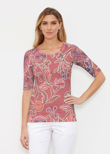 Patterns At Play Apricot (7826) ~ Signature Elbow Sleeve Crew Shirt