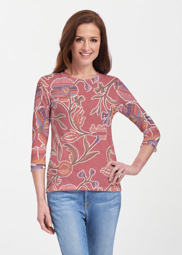 Patterns At Play Apricot (7826) ~ Premium 3/4 Sleeve Crew