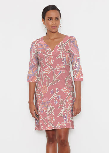 Patterns At Play Apricot (7826) ~ Classic 3/4 Sleeve Sweet Heart V-Neck Dress