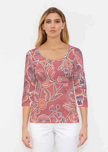 Patterns At Play Apricot (7826) ~ Signature 3/4 Sleeve Scoop Shirt