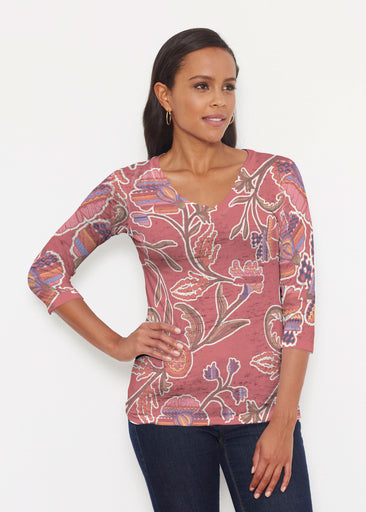 Patterns At Play Apricot (7826) ~ Signature 3/4 V-Neck Shirt