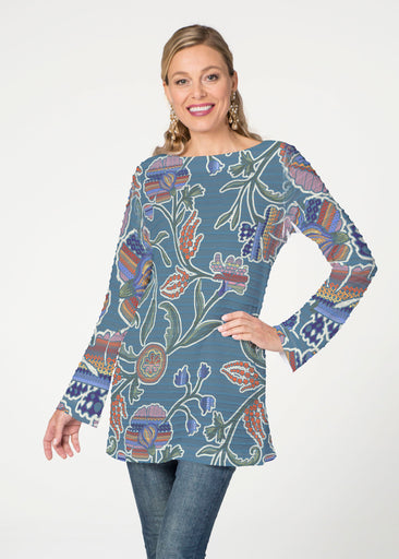 Patterns at Play Blue (7827) ~ Banded Boatneck Tunic