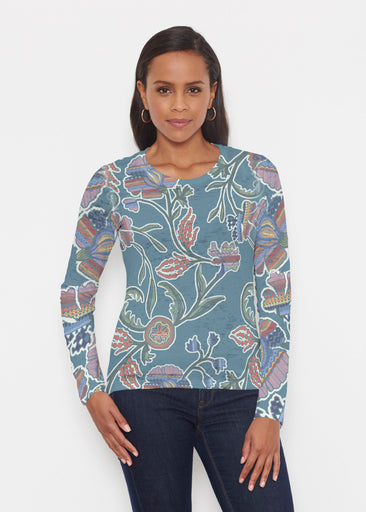Patterns At Play Blue (7827) ~ Signature Long Sleeve Crew Shirt