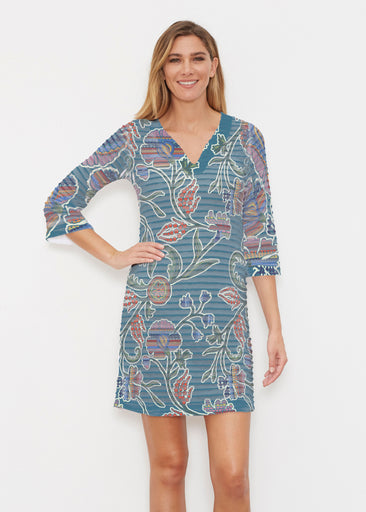 Patterns At Play Blue (7827) ~ Banded 3/4 Sleeve Cover-up Dress