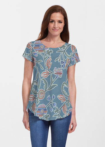 Patterns At Play Blue (7827) ~ Signature Short Sleeve Scoop Neck Flowy Tunic