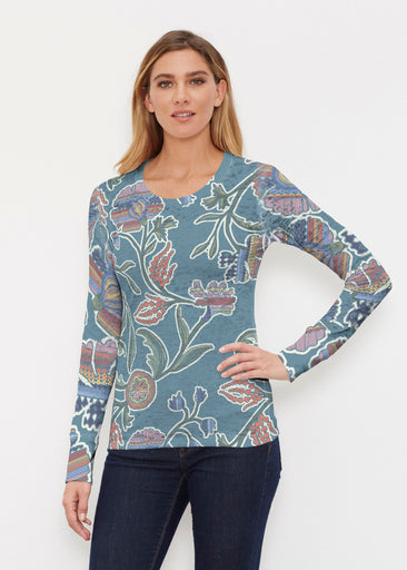 Patterns At Play Blue (7827) ~ Thermal Long Sleeve Crew Shirt