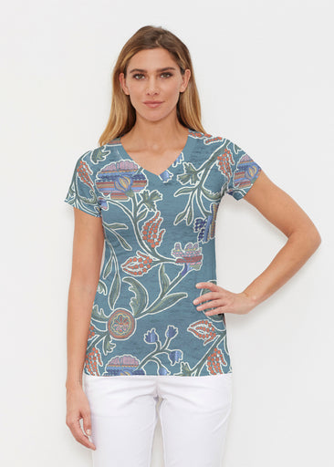 Patterns At Play Blue (7827) ~ Signature Cap Sleeve V-Neck Shirt