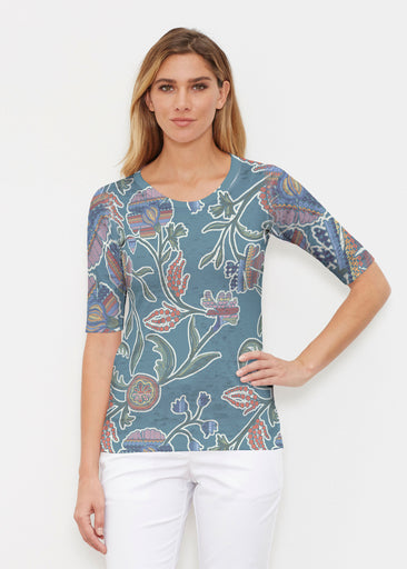 Patterns At Play Blue (7827) ~ Signature Elbow Sleeve Crew Shirt
