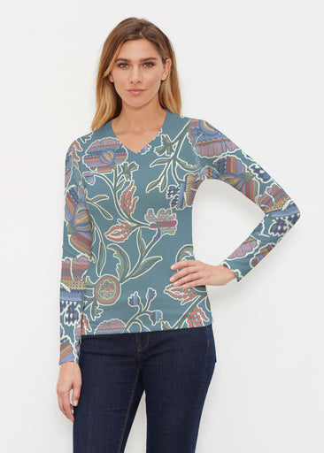 Patterns At Play Blue (7827) ~ Butterknit Long Sleeve V-Neck Top