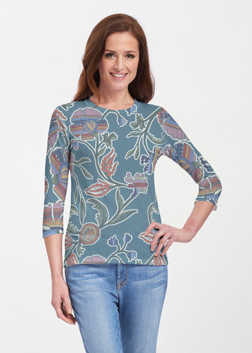 Patterns At Play Blue (7827) ~ Premium 3/4 Sleeve Crew