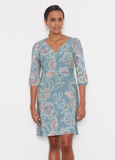 Patterns At Play Blue (7827) ~ Classic 3/4 Sleeve Sweet Heart V-Neck Dress