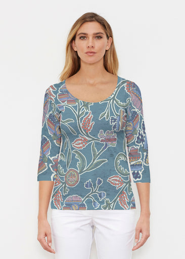 Patterns At Play Blue (7827) ~ Signature 3/4 Sleeve Scoop Shirt