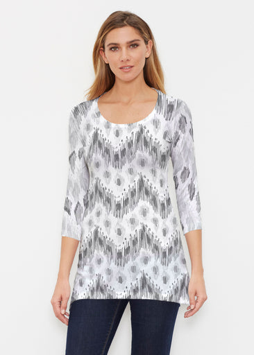 Tonal Waves Black (7834) ~ Buttersoft 3/4 Sleeve Tunic