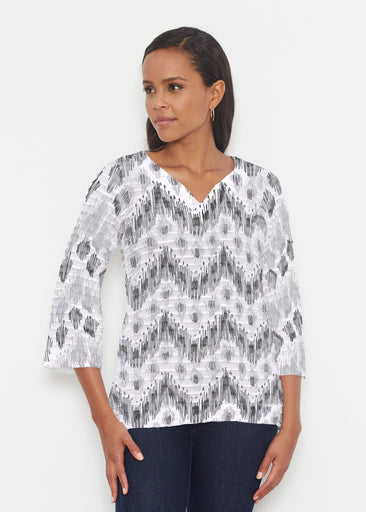 Tonal Waves Black (7834) ~ Banded 3/4 Bell-Sleeve V-Neck Tunic