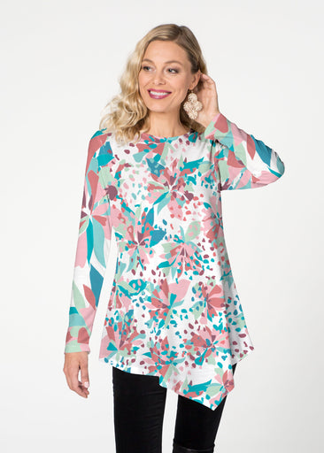 Floral Leopard Teal (7838) ~ Asymmetrical French Terry Tunic
