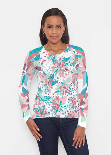 Floral Leopard Teal (7838) ~ Signature Long Sleeve Crew Shirt