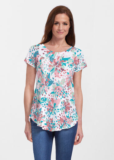 Floral Leopard Teal (7838) ~ Short Sleeve Scoop Neck Flowy Tunic