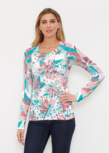 Floral Leopard Teal (7838) ~ Thermal Long Sleeve Crew Shirt