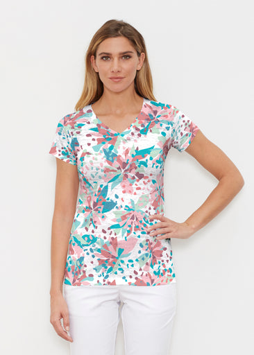 Floral Leopard Teal (7838) ~ Signature Cap Sleeve V-Neck Shirt