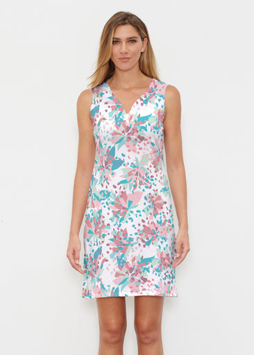 Floral Leopard Teal (7838) ~ Classic Sleeveless Dress