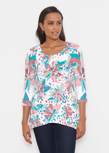 Floral Leopard Teal (7838) ~ Katherine Hi-Lo Thermal Tunic