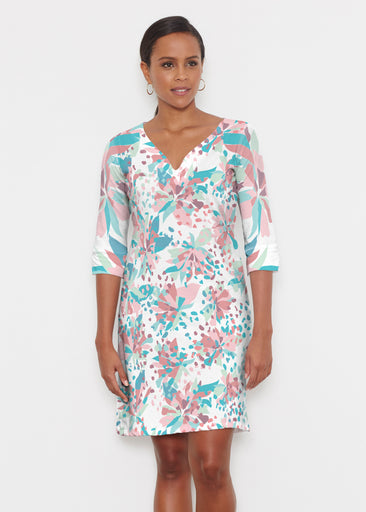 Floral Leopard Teal (7838) ~ Classic 3/4 Sleeve Sweet Heart V-Neck Dress