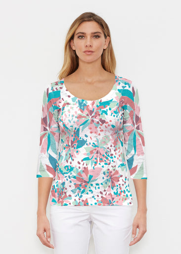 Floral Leopard Teal (7838) ~ Signature 3/4 Sleeve Scoop Shirt