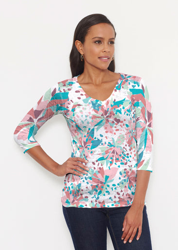Floral Leopard Teal (7838) ~ Signature 3/4 V-Neck Shirt