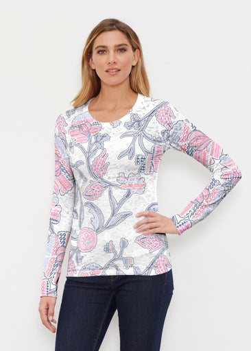 Patterns at Play Pink (7839) ~ Thermal Long Sleeve Crew Shirt