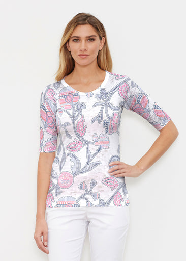 Patterns at Play Pink (7839) ~ Elbow Sleeve Crew Shirt