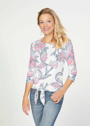 Patterns at Play Pink (7839) ~ French Terry Tie 3/4 Sleeve Top
