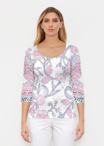 Patterns at Play Pink (7839) ~ Signature 3/4 Sleeve Scoop Shirt