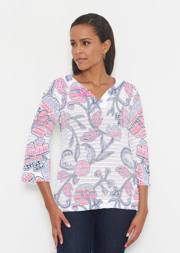 Patterns at Play Pink (7839) ~ Banded 3/4 Bell-Sleeve V-Neck Tunic