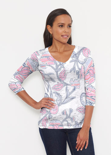 Patterns at Play Pink (7839) ~ Signature 3/4 V-Neck Shirt