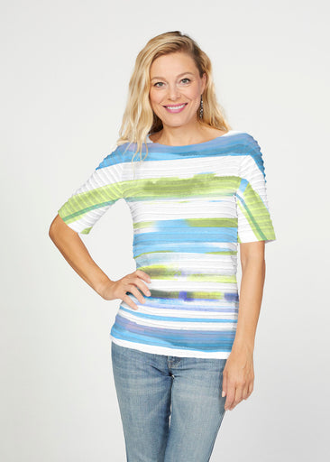 Multi Stripe Blue (7843) ~ Banded Elbow Sleeve Boat Neck Top